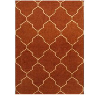 Herat Oriental Indo Hand-tufted Brown/ Ivory Trellis Wool Rug (5' x 7')