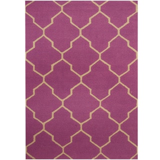 Herat Oriental Indo Hand-tufted Purple/ Light Blue Trellis Wool Rug (5' x 7')