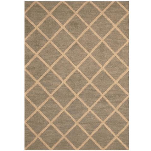 Handmade One-of-a-Kind Trellis Wool Rug (India) - 5' x 7'