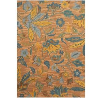 Herat Oriental Indo Hand-tufted Beige/ Blue Floral Wool Rug (5' x 7')