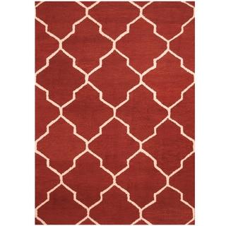 Herat Oriental Indo Hand-tufted Burgundy/ Ivory Trellis Wool Rug (5' x 7')