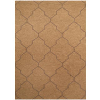 Herat Oriental Indo Hand-tufted Light Brown/ Brown Trellis Wool Rug (5' x 7')