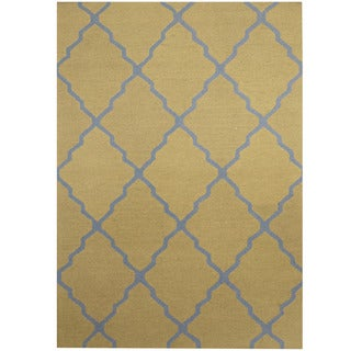 Herat Oriental Indo Hand-tufted Light Green/ Light Blue Trellis Wool Rug (5' x 7')