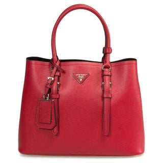 Prada Double Red Small Leather Tote Bag