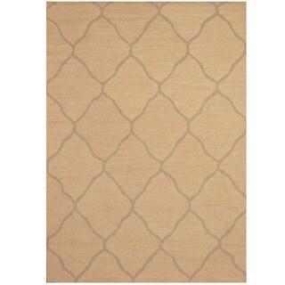 Herat Oriental Indo Hand-tufted Beige/ Light Brown Trellis Wool Rug (5' x 7')