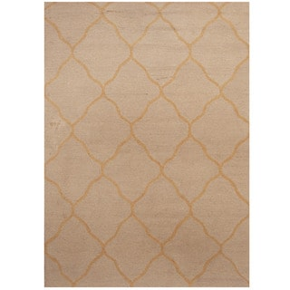 Herat Oriental Indo Hand-tufted Ivory/ Yellow Trellis Wool Rug (5' x 7')