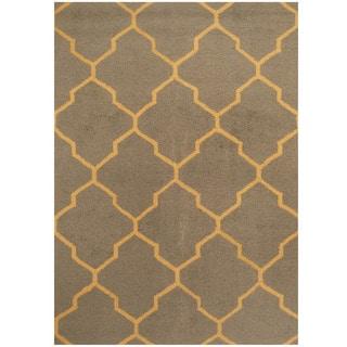 Herat Oriental Indo Hand-tufted Gray/ Gold Trellis Wool Rug (5' x 7')