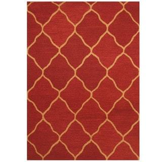 Herat Oriental Indo Hand-tufted Burgundy/ Beige Trellis Wool Rug (5' x 7')