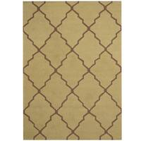 Herat Oriental Indo Hand-tufted Trellis Wool Rug - 5' x 7'