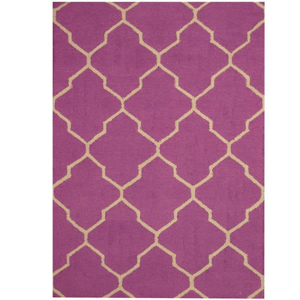Handmade Herat Oriental Indo Trellis Wool Rug - 5' x 7' (India)