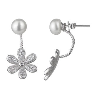 Detachable 2 piece Sterling Silver Cubic Zirconia Simulated Pearl Flower Dangle Earring