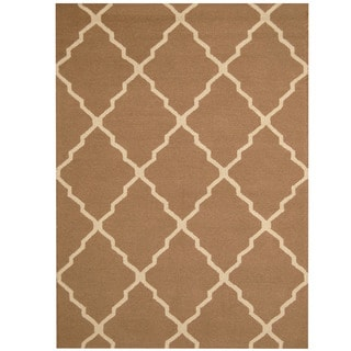 Herat Oriental Indo Hand-tufted Light Brown/ Ivory Trellis Wool Rug (5' x 7')