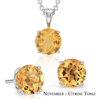 Suzy Levian 18k Goldplated Sterling Silver 3ct Topaz Birthstone Set Made with Swarovski Gemstones