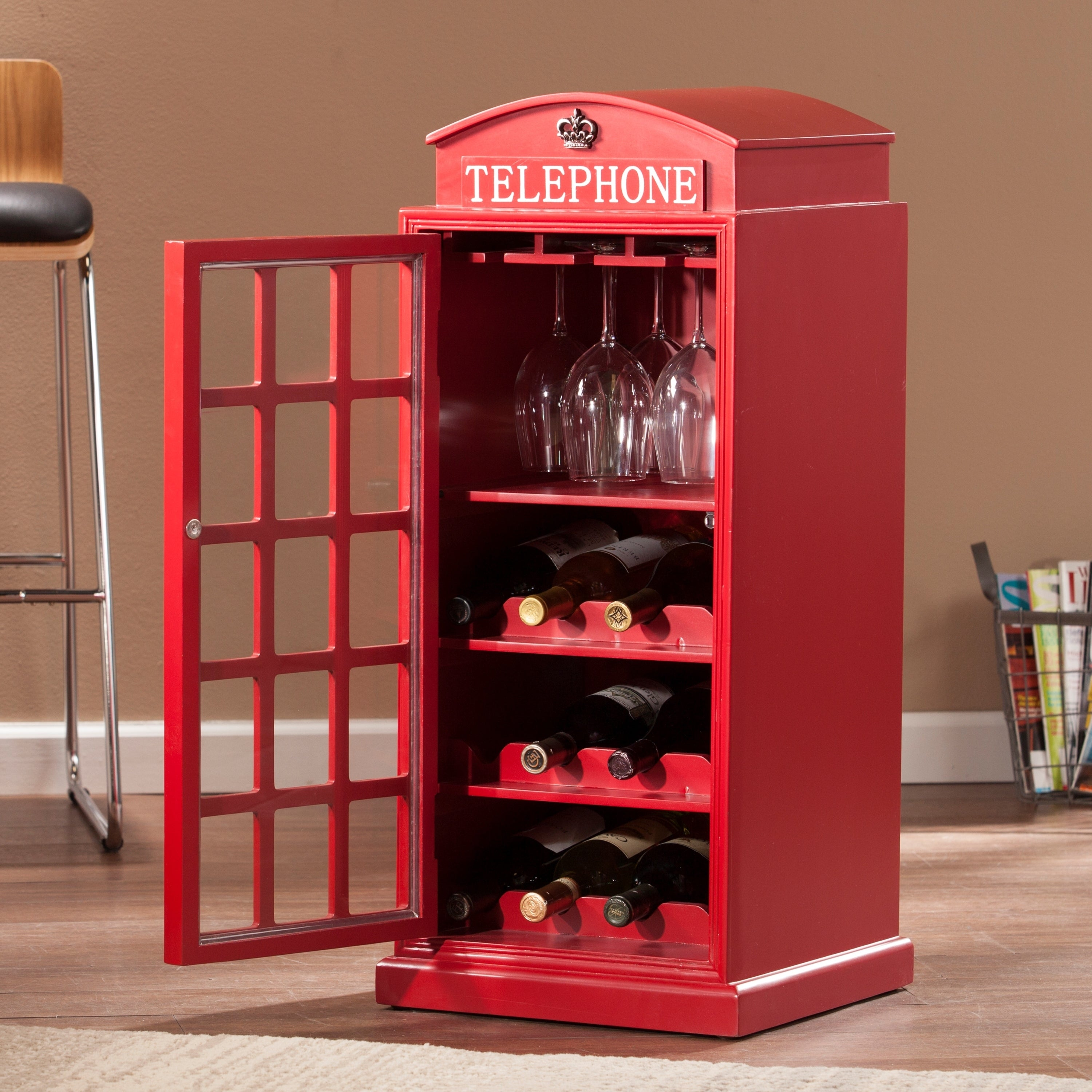 Copper Grove Tarkine Phone Booth Wine Cabinet