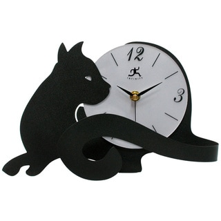 Infinity Instruments Black Metal Cat Lovers Tabletop Clock