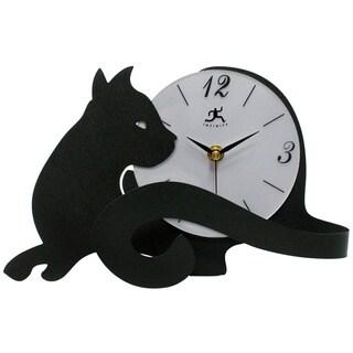 Infinity Instruments Black Metal Cat Lovers Tabletop Clock