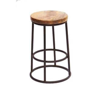 Urban Port UPT-636038472 Tan Wood 14-inch x 14-inch x 24-inch Chic Circular Top Jaden Counter Stool