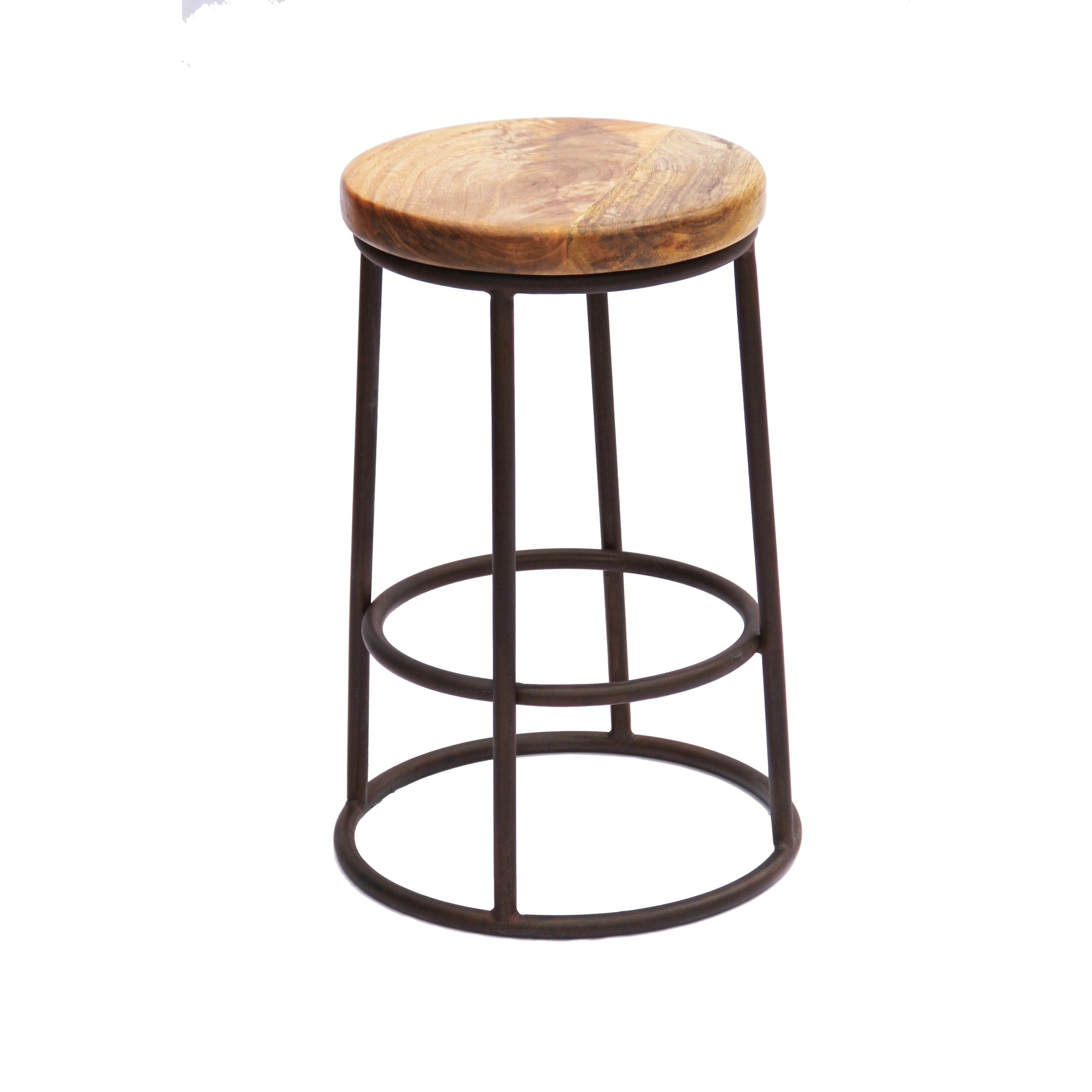 Cool The Urban Port Wooden 24 Inch Circular Counter Height Bar Stool With Metal Base Brown And Black Creativecarmelina Interior Chair Design Creativecarmelinacom
