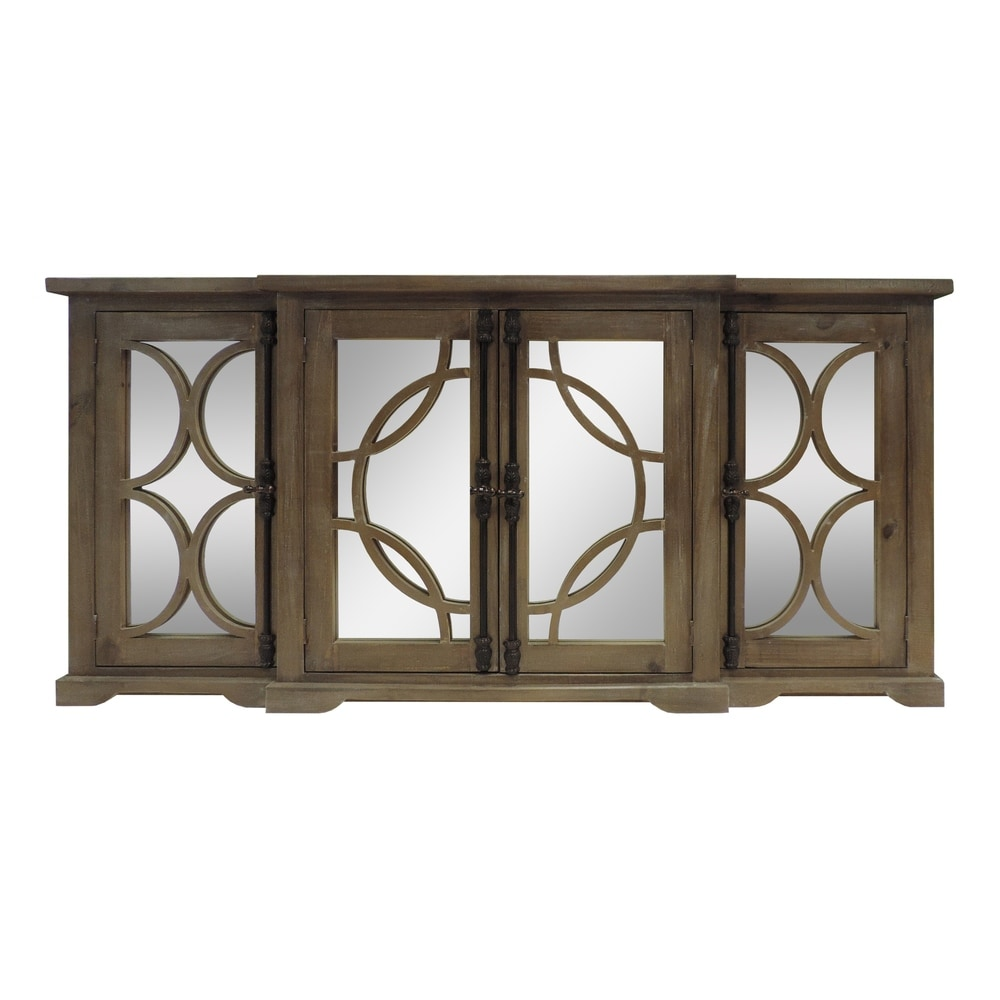 Overstock 4 Door Wooden Console with Circled Design Mirrored Front, Brown (Brown)