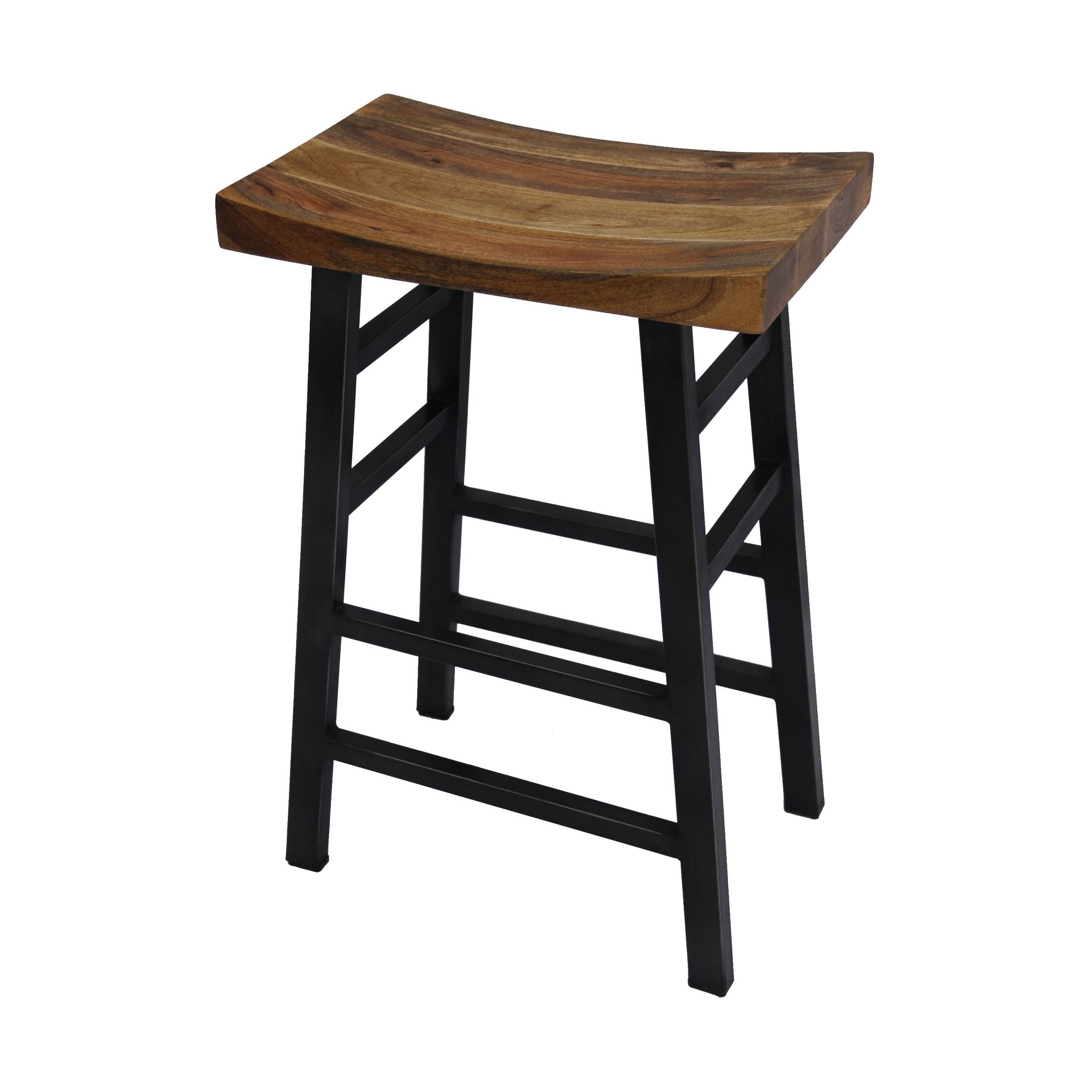 The Urban Port Wooden Saddle Seat 30 Inch Bar Stool With Ladder Base Brown And Black
