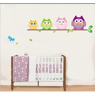 Style & Apply Multi-color Vinyl Different Eyed Owls Removable Wall Graphic