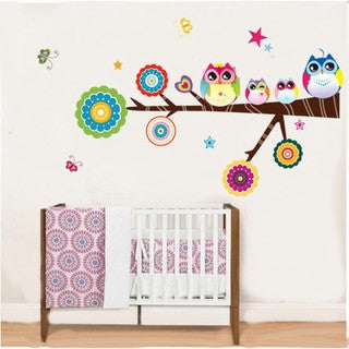 Home Source 'Level Circled Branch of Owl Friends' 10-inch x 28-inch Removable Wall Graphic