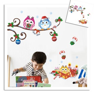 HomeSource 'Curled Branch of Owls and Friends' 10-inch x 28-inch Removable Wall Graphic