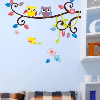 HomeSource 'Arched Out Branch for Owls and Friends' 10-inch x 28-inch Removable Wall Graphic