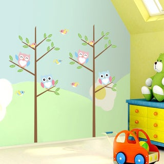 Style & Apply Multicolor Vinyl Sharp-angled Branch with Owls Removable Wall Graphic