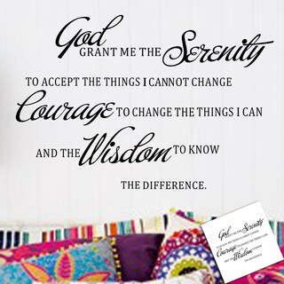 God, Serenity, Courage, Wisdom Multi-color Vinyl 10-inch x 28-inch Removable Wall Graphic
