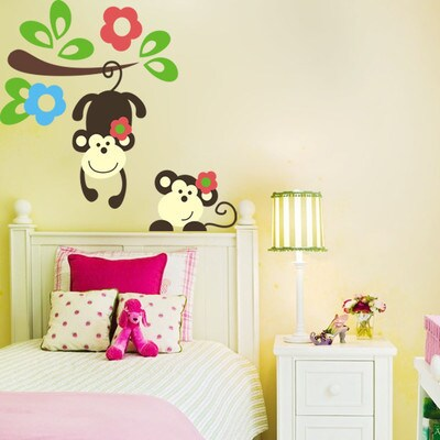 Home Source 'Monkey Pals' 28-inch x 10-inch Removable Wall Decal