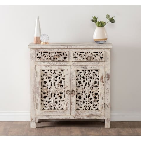 Hepburn Antiqued White 2-Drawer 2-Door Buffet by Kosas Home