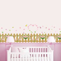 HomeSource Flowering Fenced Border 16-inch x 24-inch Removable Wall Graphic