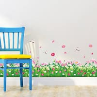 HomeSource Pink Flowering Meadow Border 16-inch x 24-inch Removable Wall Graphic