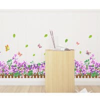 HomeSource Violet Butterfly Meadow Border 16-inch x 24-inch Removable Wall Graphic