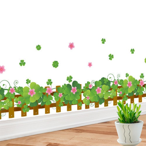 Flower Border Fence Multicolor Vinyl 16-inch x 24-inch Removable Wall Graphic