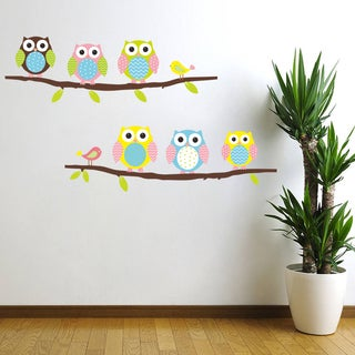 HomeSource 2 Branches of Owls 16-inch x 24-inch Removable Wall Graphic
