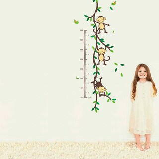 Home Source 'Hanging Monkey Growth Chart' 16-inch x 24-inch Removable Wall Graphic