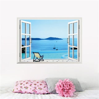 Home Source 'Window to a Wonderful Watery Landscape' 19-inch x 27-inch Removable Wall Graphic