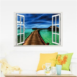Window to a Beautiful Boardwalk Multi-color Vinyl 19-inch x 27-inch Removable Wall Graphic