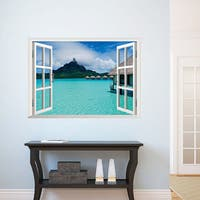 Window to Paradise Multi-color Vinyl 20-inch x 28-inch Removable Wall Graphic