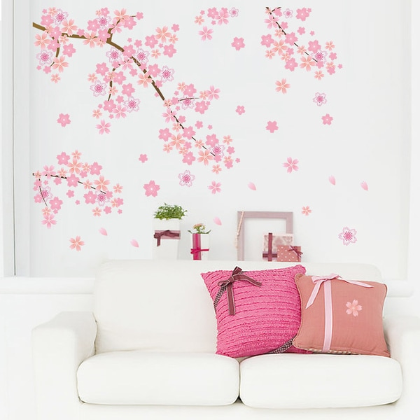 Blossoming Cherry Blossoms II Multicolored 20-inch x 28-inch Removable Wall Graphic