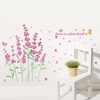 Pink Waving Flowers Multi-color Vinyl 20-inch x 28-inch Removable Wall Graphic