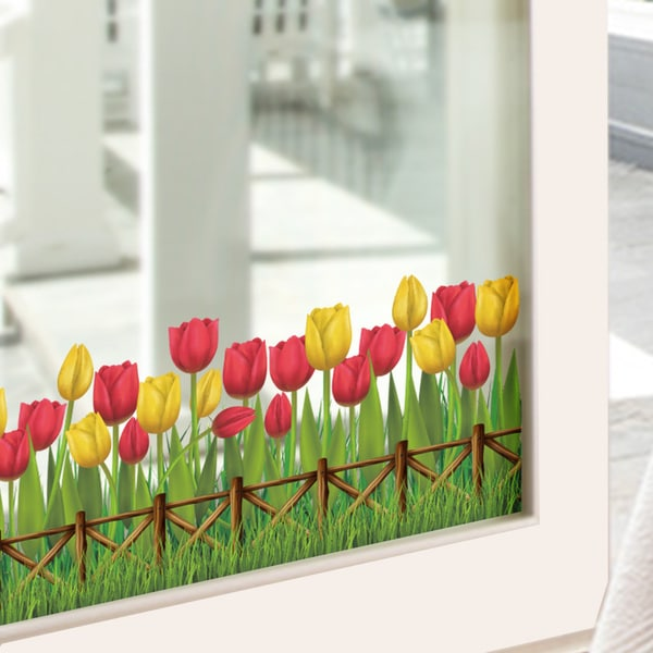 Large Tulip Meadow Border Multi-color Vinyl 20-inch x 28-inch Removable Wall Graphic