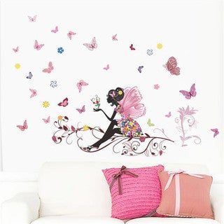 Fairy Friends and Thoughts Multicolor Vinyl 20-inch x 28-inch Removable Wall Graphic