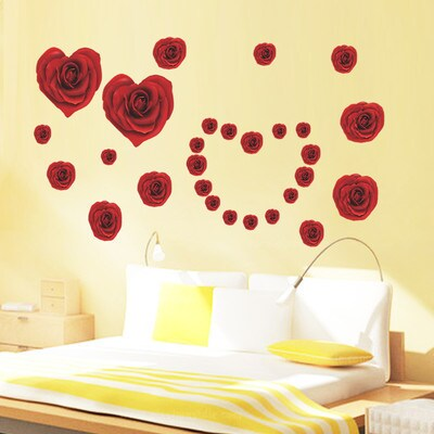 HomeSource 'Rose Hearts' 20-inch x 28-inch Removable Wall Graphic