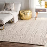 nuLOOM Hand-woven Abstract Fancy Wool Ivory Rug (7'6 x 9'6)
