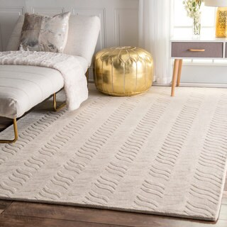 "nuLOOM Hand-woven Abstract Fancy Wool Ivory Rug (7'6 x 9'6) - 7'6"" x 9'6"""
