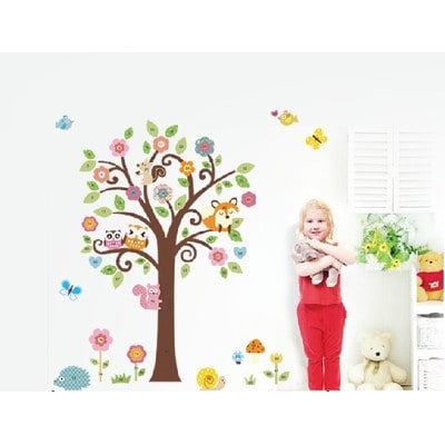 Home Source 'Full Tree of Flowers and Forest Friends' 20-inch x 28-inch Removable Wall Graphic