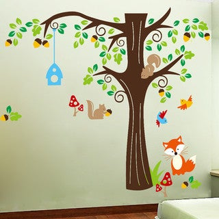 HomeSource Tree Full of Life and Friends 20-inch x 28-inch Removable Wall Graphic